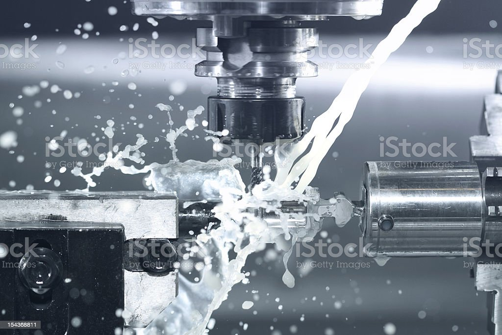 CNC milling at work stock photo
