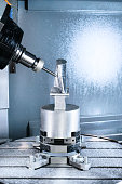 Milling CNC machining center produces the turbine blade.