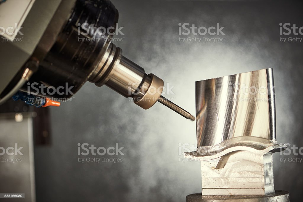 Milling cutting process. CNC metalwork machining by mill cutter stock photo