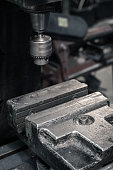 Milling drill and vice. Detail.