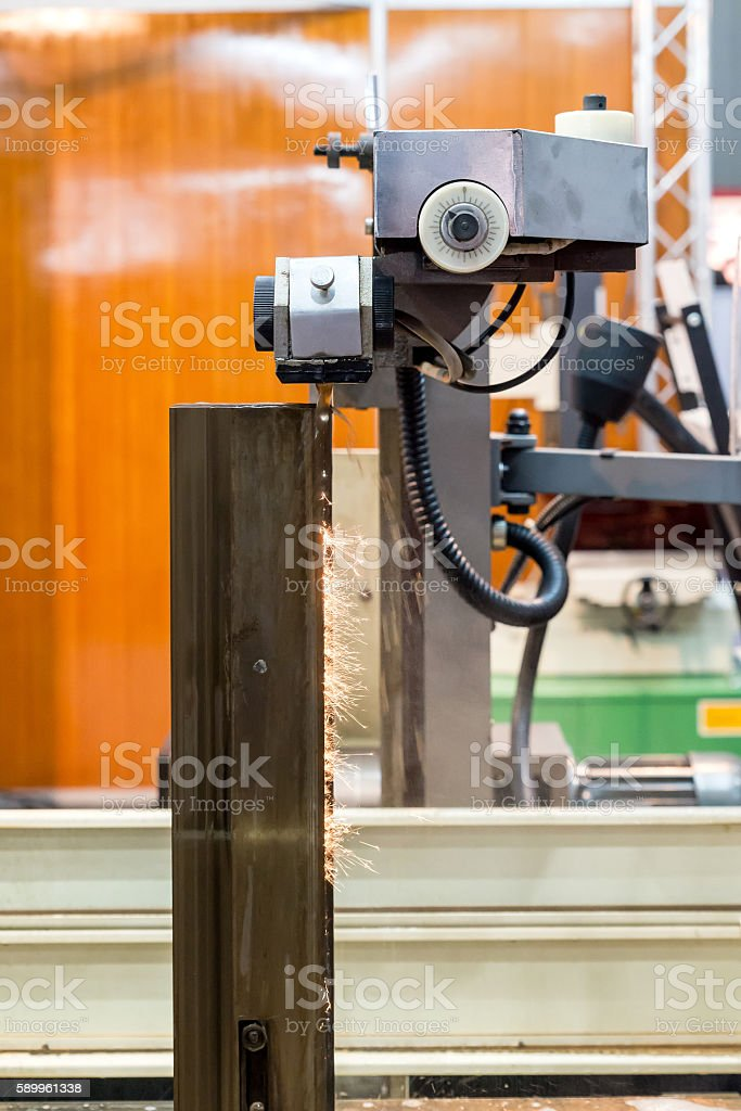 Milling Electro-Discharge Machine (EDM) working in factory. stock photo