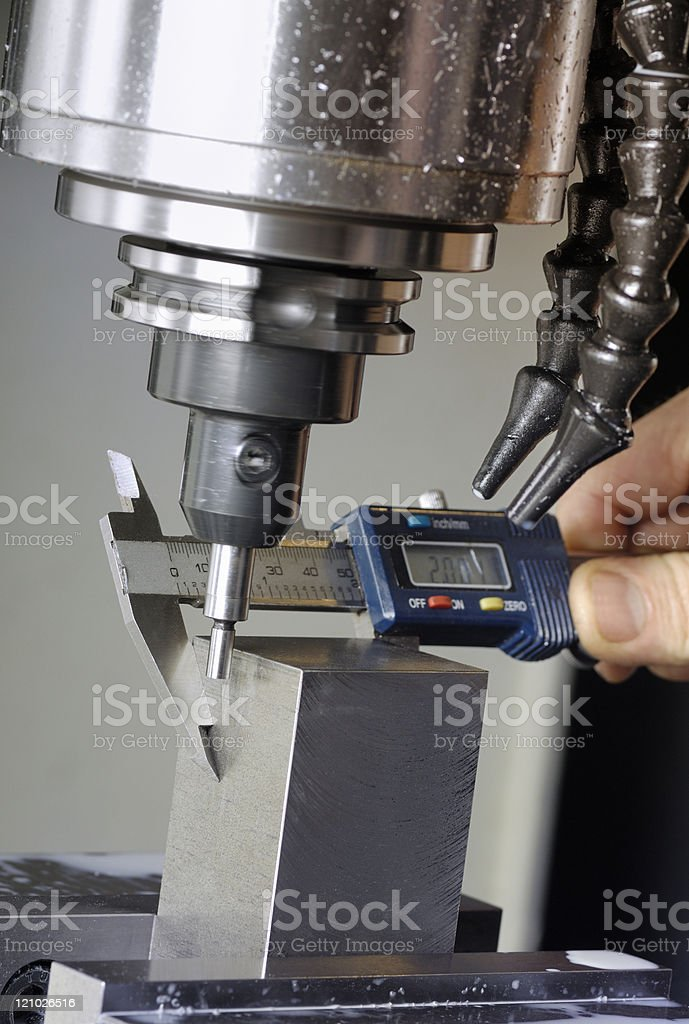 Milling machine and micrometer stock photo
