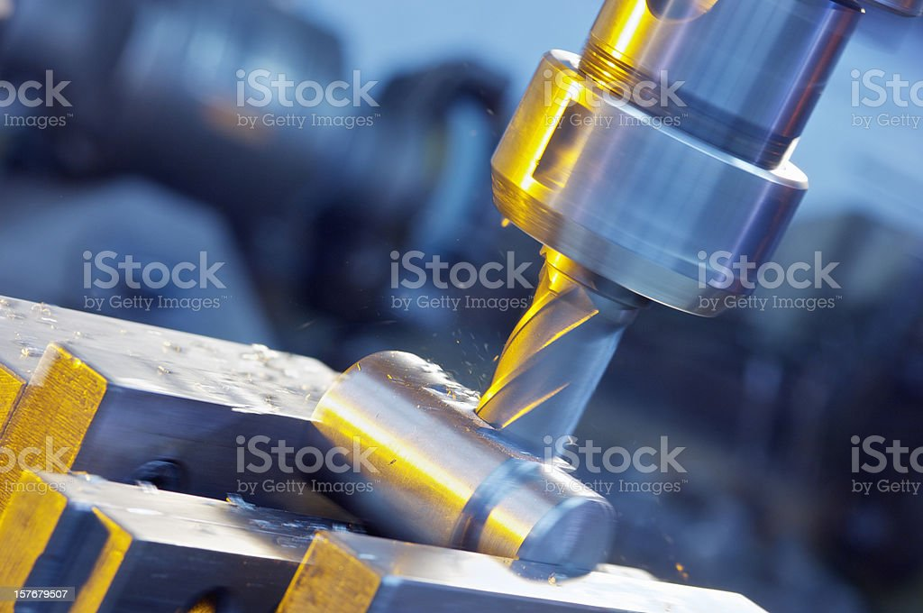 Milling machine in operation. stock photo