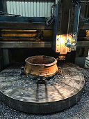 Milling machine working on jaw crusher spare parts. In motion.