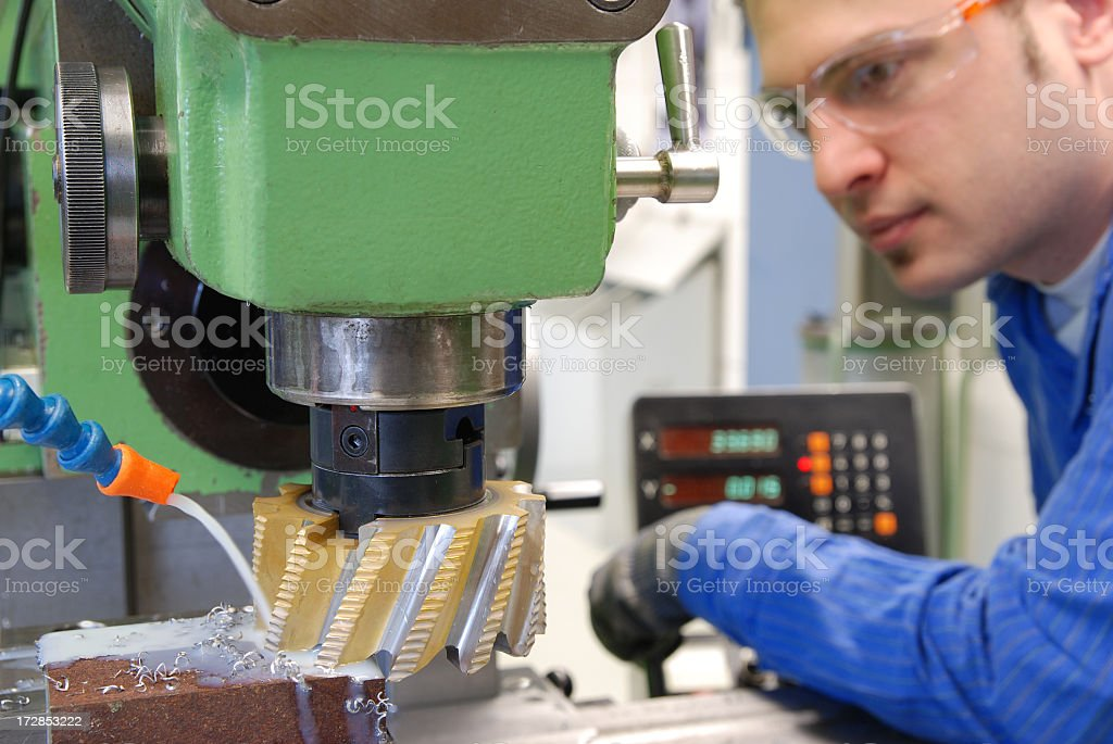 Milling of a work piece in a lab stock photo