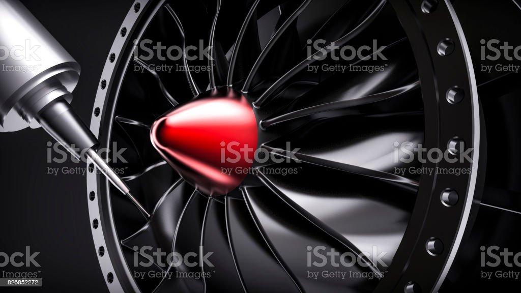 Milling  turbine in five axis CNC machine. stock photo