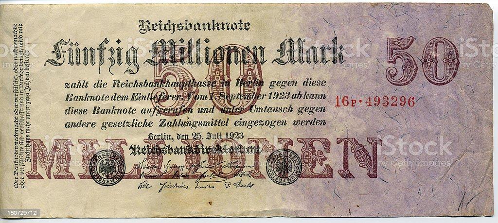 50 millions Deutsch marks stock photo