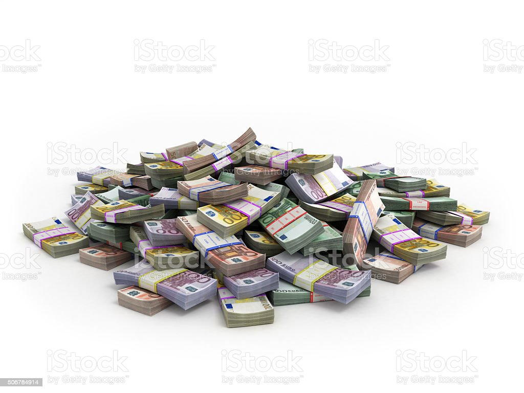 Millions of Euro Banknotes isolated on white stock photo