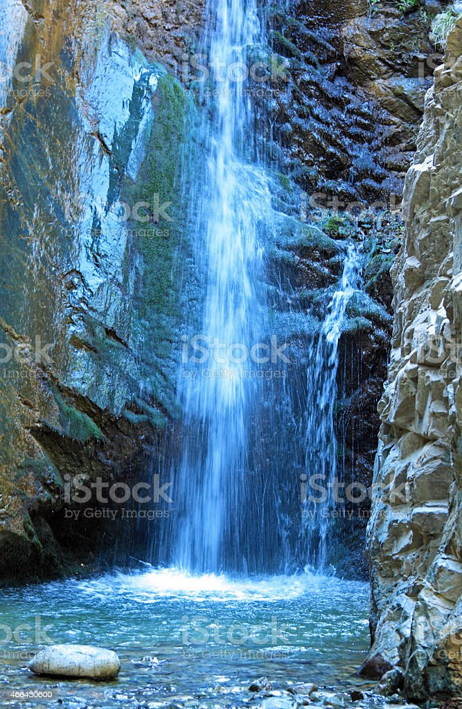 Millomeris Waterfall in Rock Cave, Troodos mountains stock photo