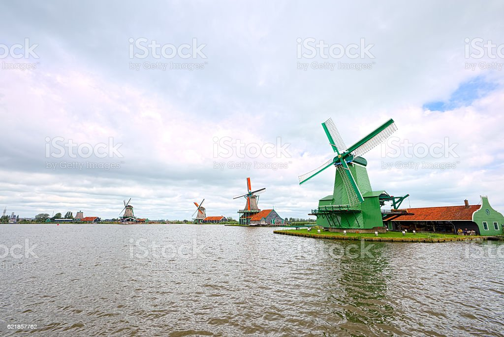 Mills of Zaandam, Netherlands (super-wide angle) stock photo