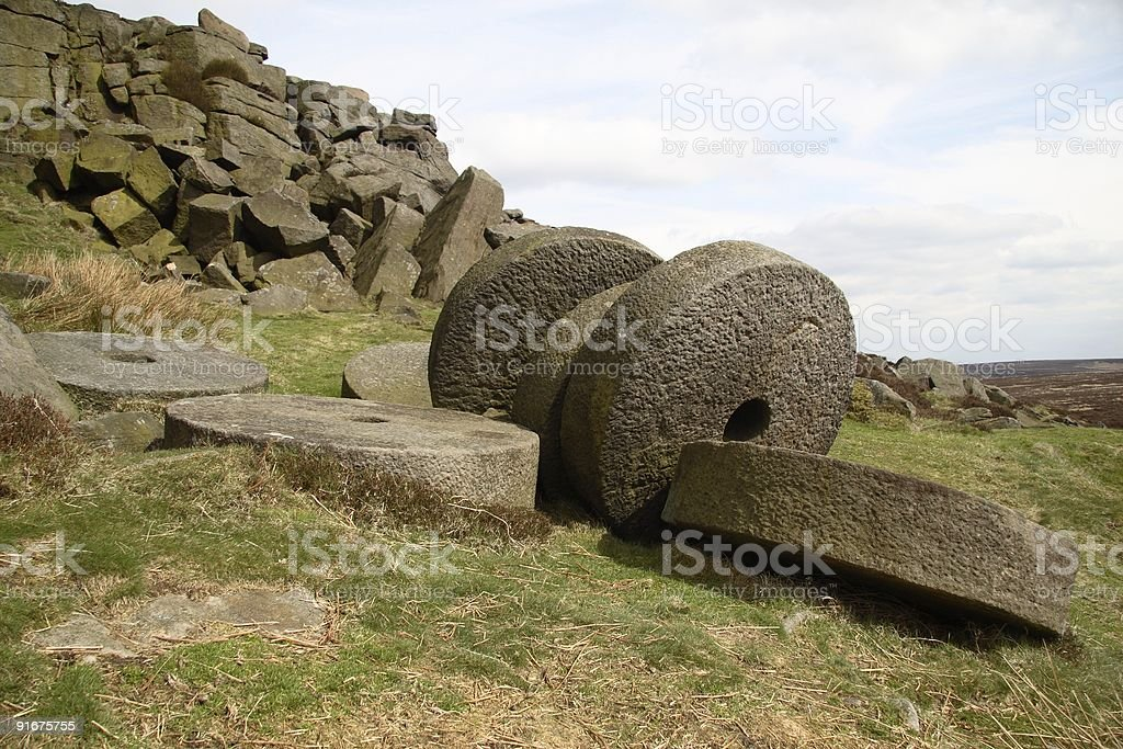 Millstone Pile stock photo