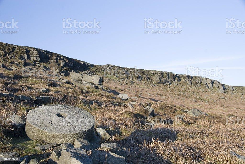 Millstones at Stanage Edge, Peak District, UK royalty-free stock photo
