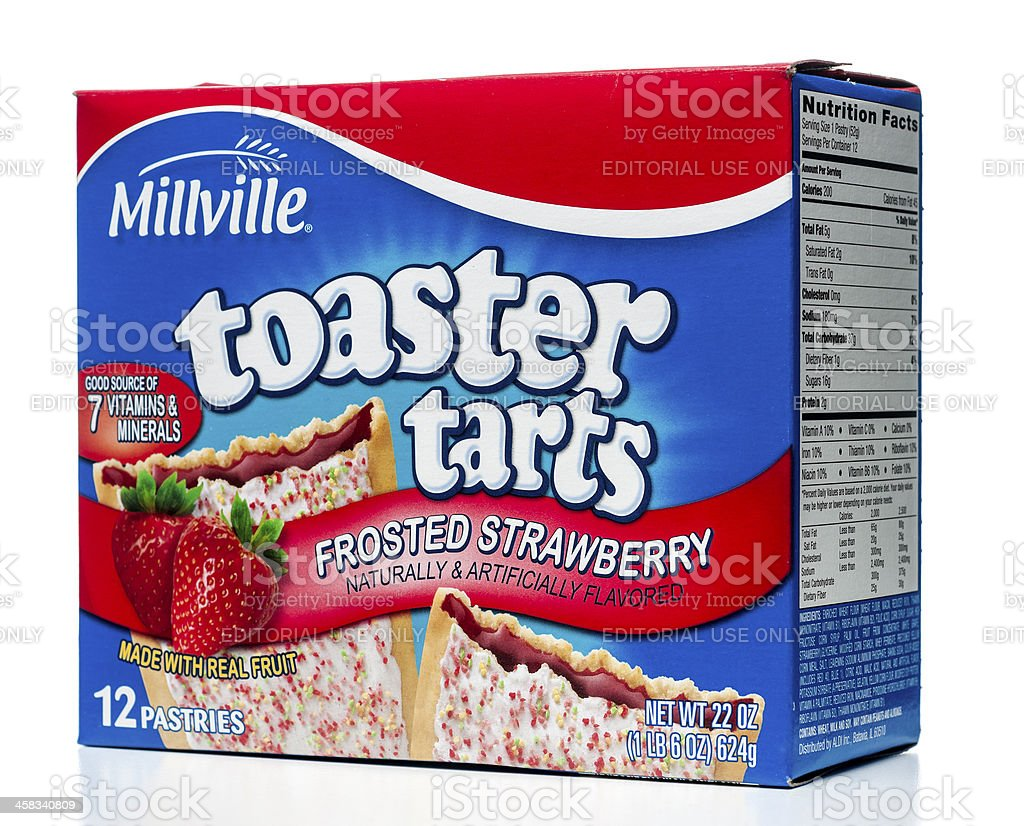 Millville Toaster Tarts Frosted Strawberry 12 pastries box stock photo