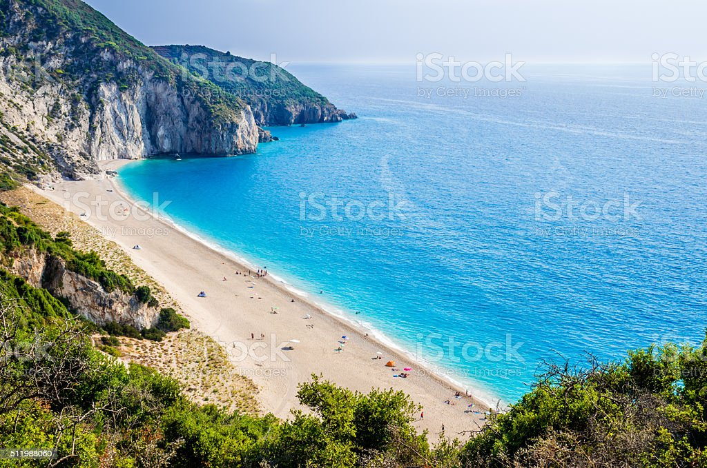 Milos beach on Lefkada island, Greece. stock photo