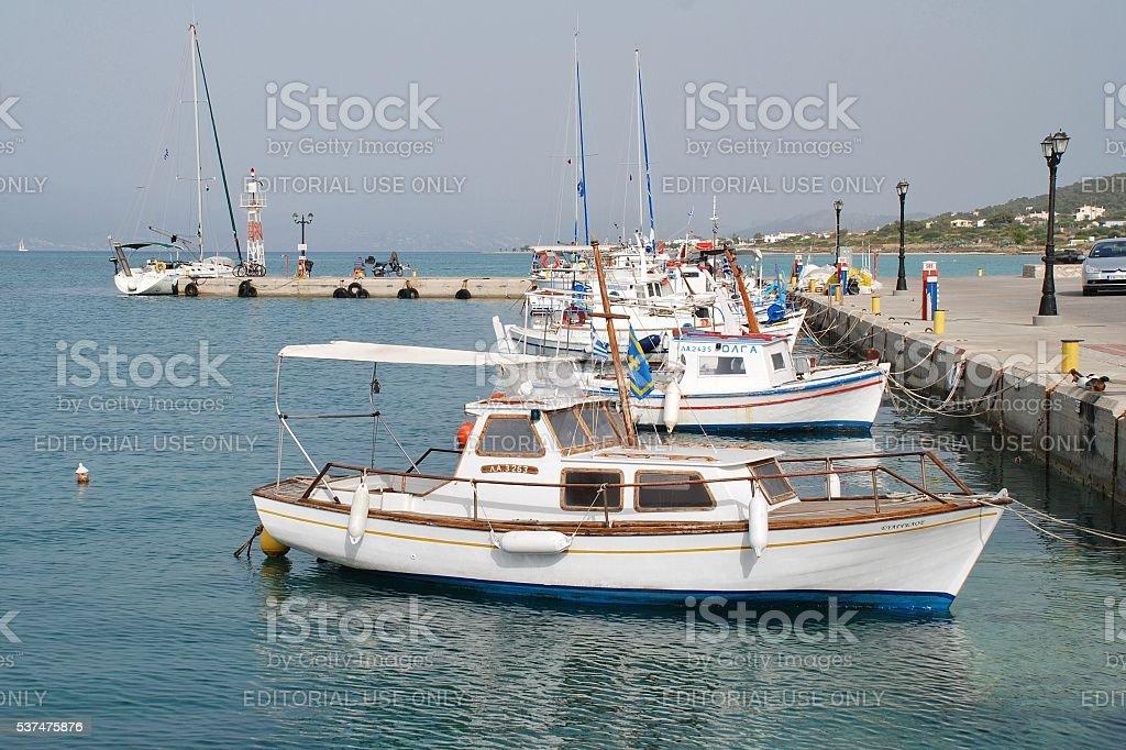 Milos harbour, Agistri island stock photo