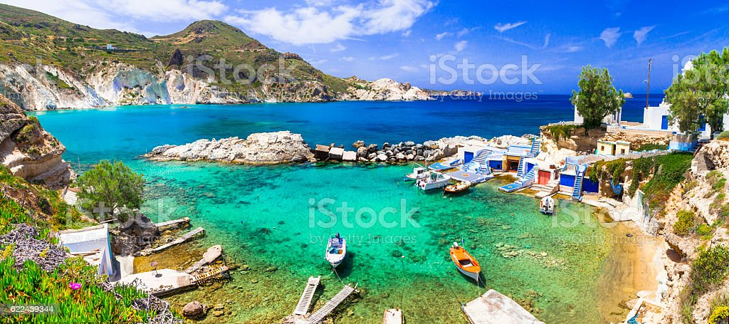 Milos - traditional village Mandrakia , Greece, Cyclades stock photo