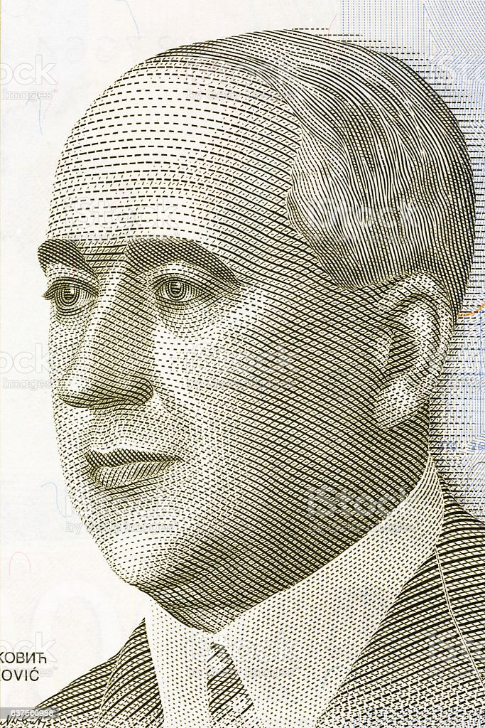 Milutin Milankovic portrait from Serbia's money stock photo