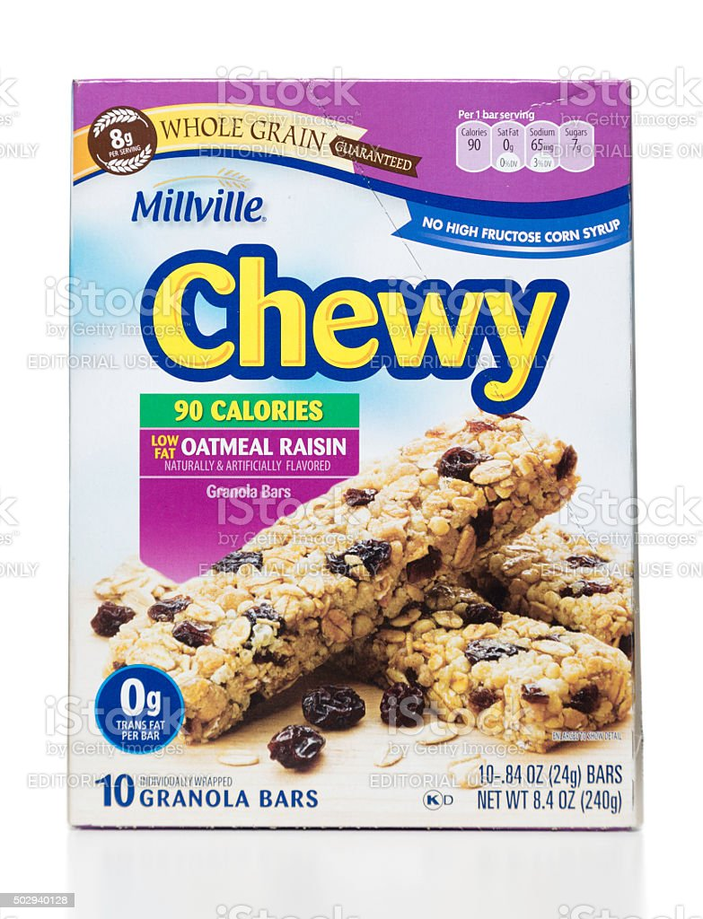 Milville Chewy low fat oatmeal raisin granola bars box stock photo