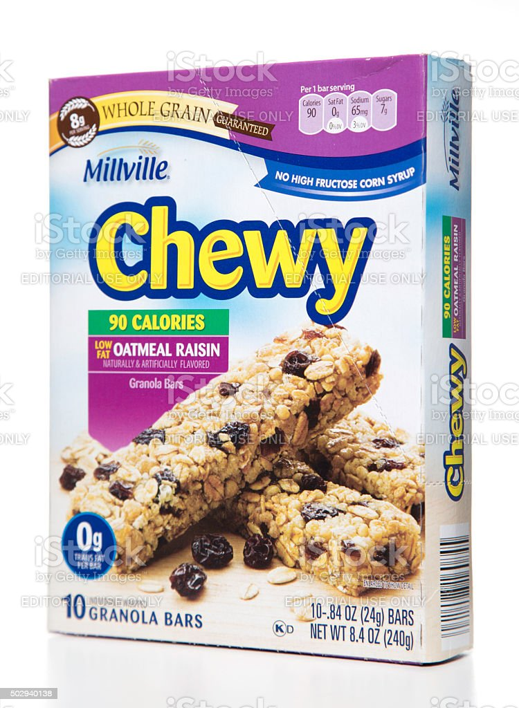 Milville Chewy whole grain low fat oatmeal raisin granola box stock photo
