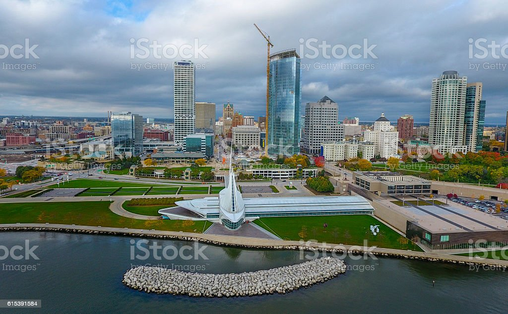 Milwaukee lakeshore skyline stock photo