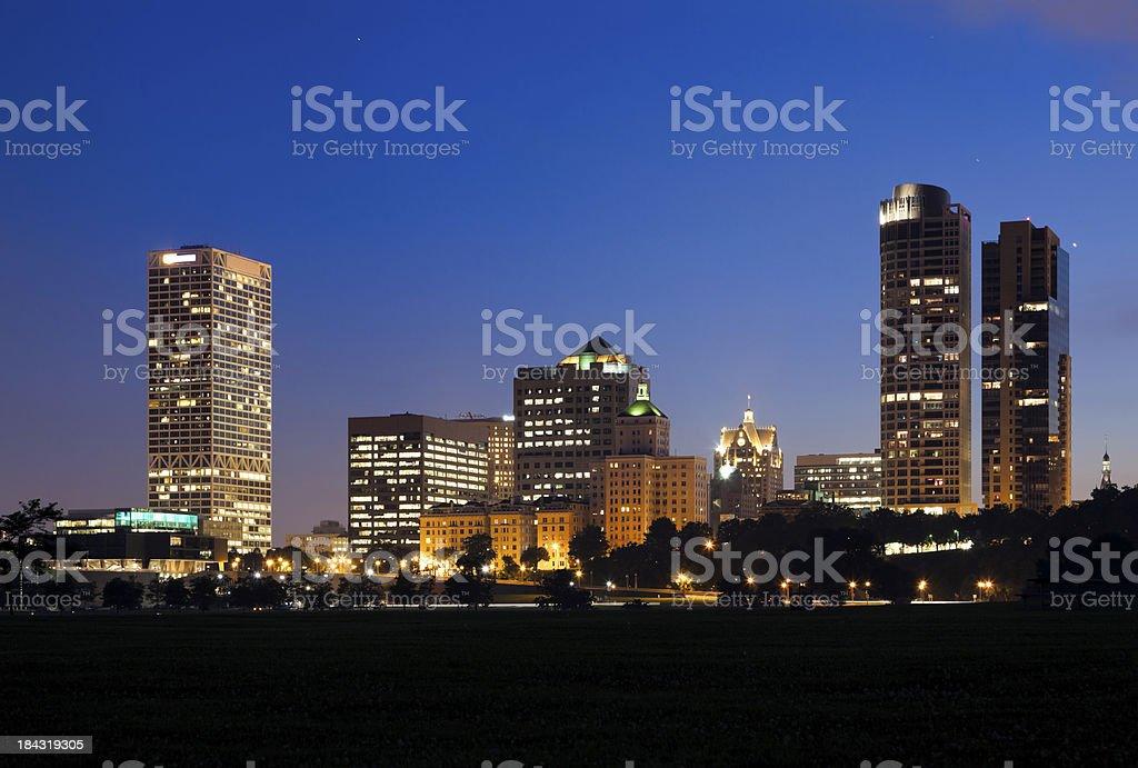Milwaukee Skyline at Dusk royalty-free stock photo