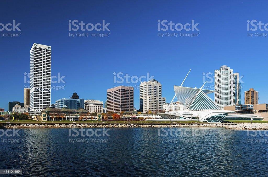 Milwaukee skyline waterfront view royalty-free stock photo
