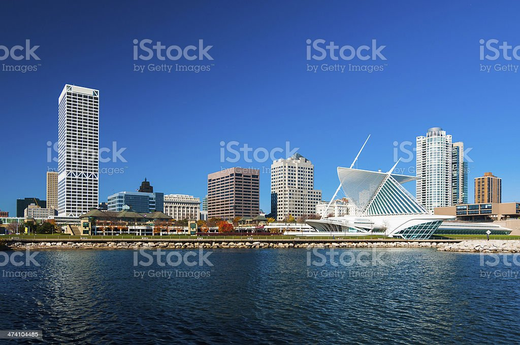 Milwaukee skyline waterfront view stock photo