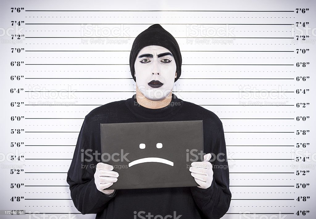 Mime artist arrested royalty-free stock photo