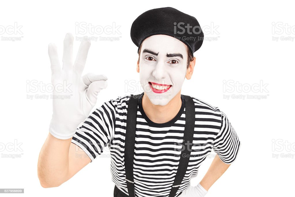 Mime artist gesturing with his hand stock photo
