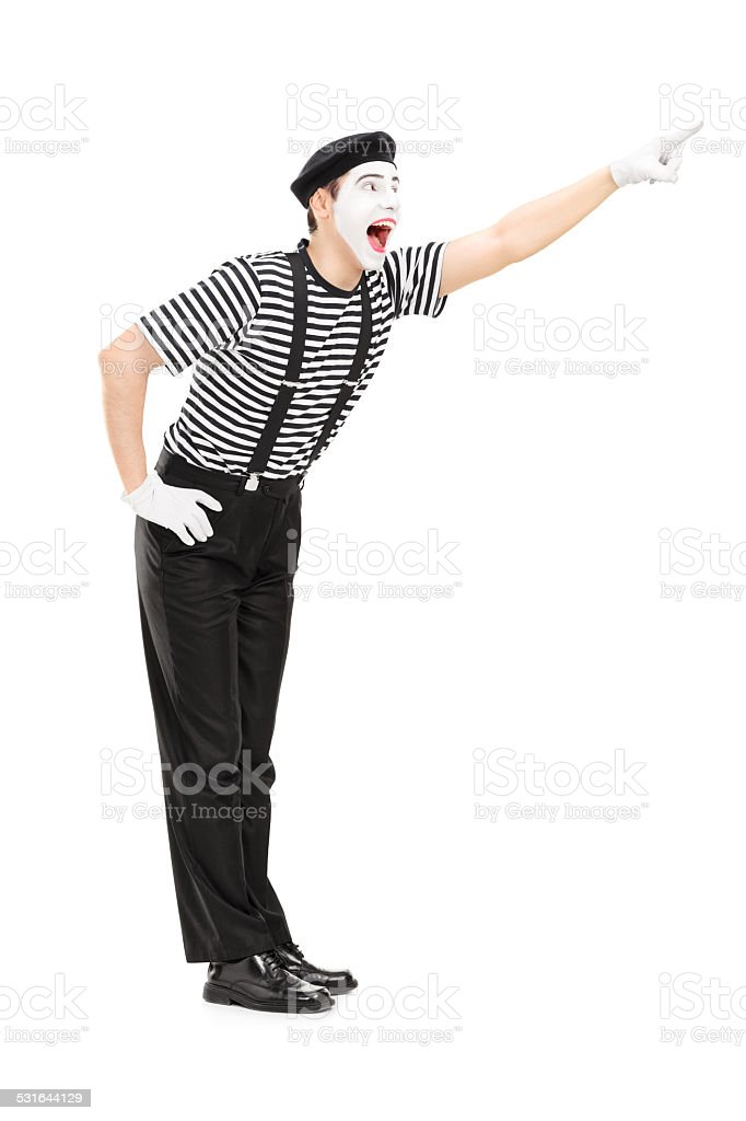 Mime artist pointing up with his hand stock photo