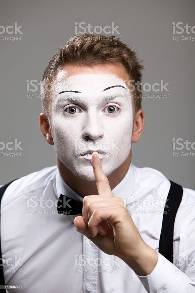 mime finger his lips, to portray the silence royalty-free stock photo