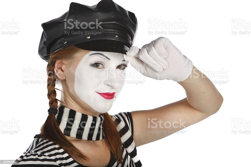 Mime saluting royalty-free stock photo