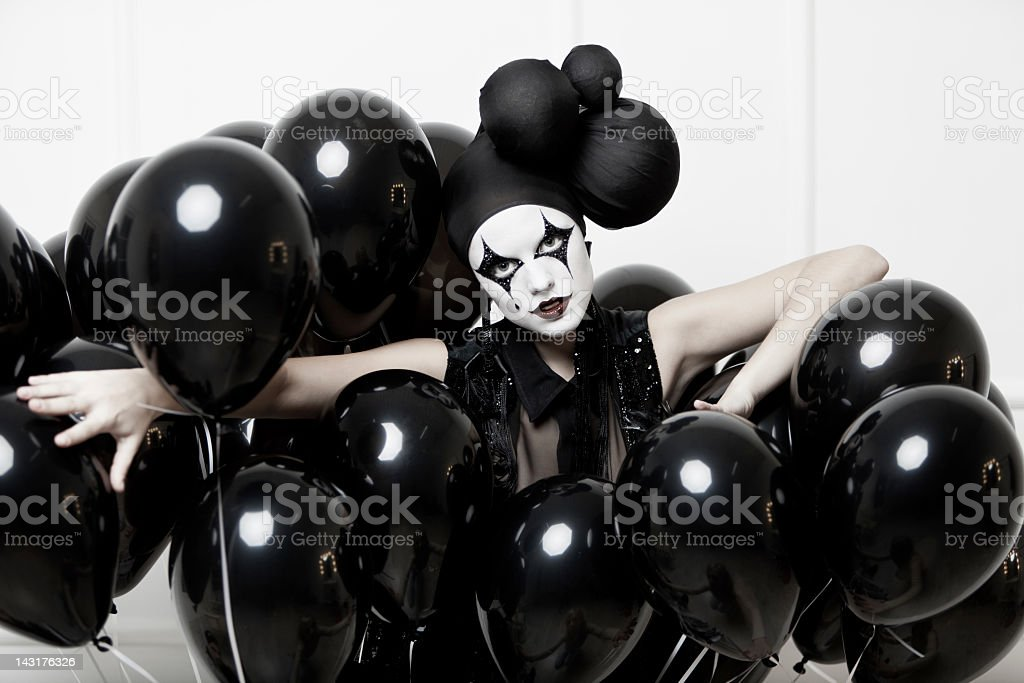 Mime stylized fashion close-up partrait of a young beautiful woman stock photo