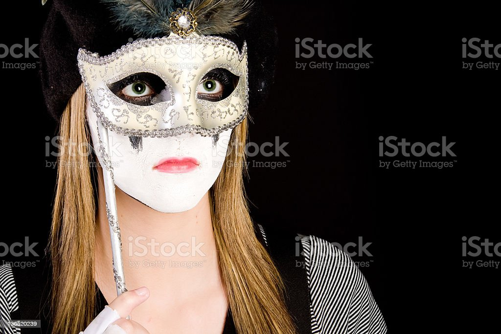 mime with a mask stock photo