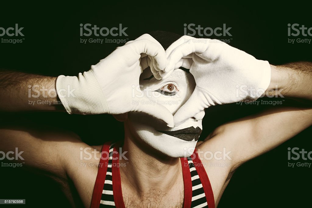 Mime with heart stock photo