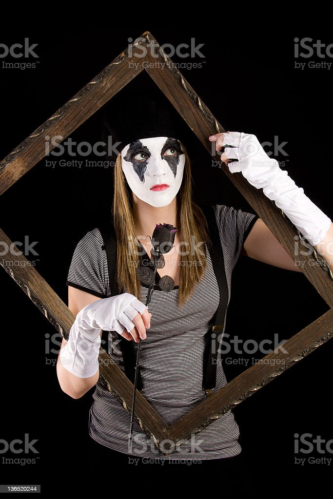 mime with picture frame stock photo