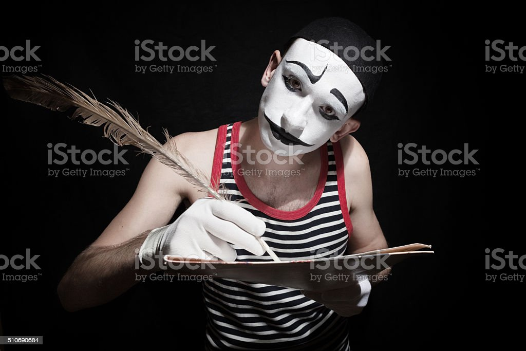 Mime with quill stock photo