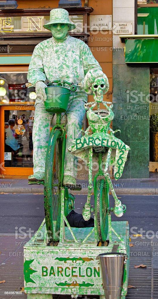 Mimic performing in La Rambla Street in center of Barcelona stock photo