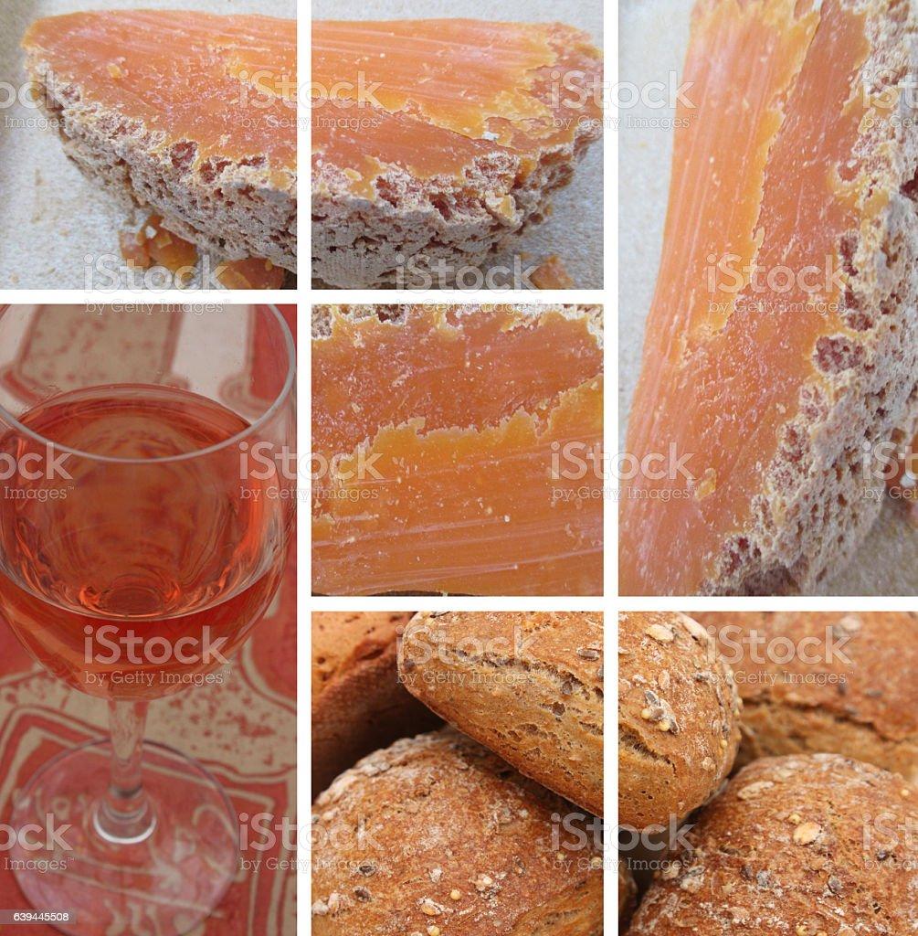 Mimolette extra vieille - Vin - Pain stock photo