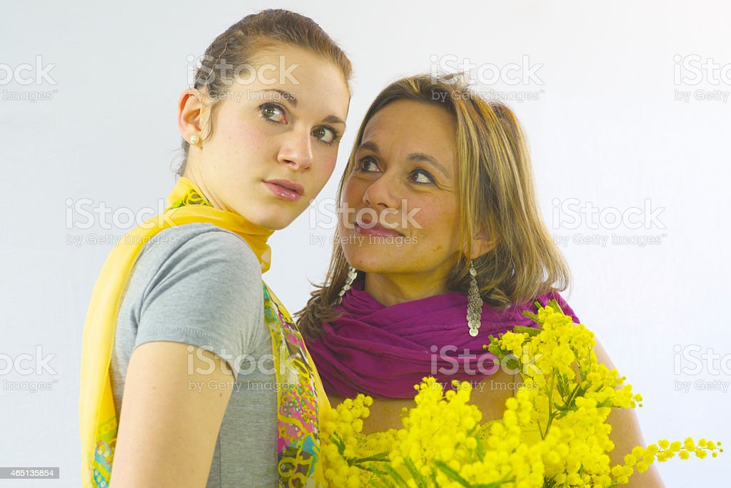 Mimose for 2 girls stock photo