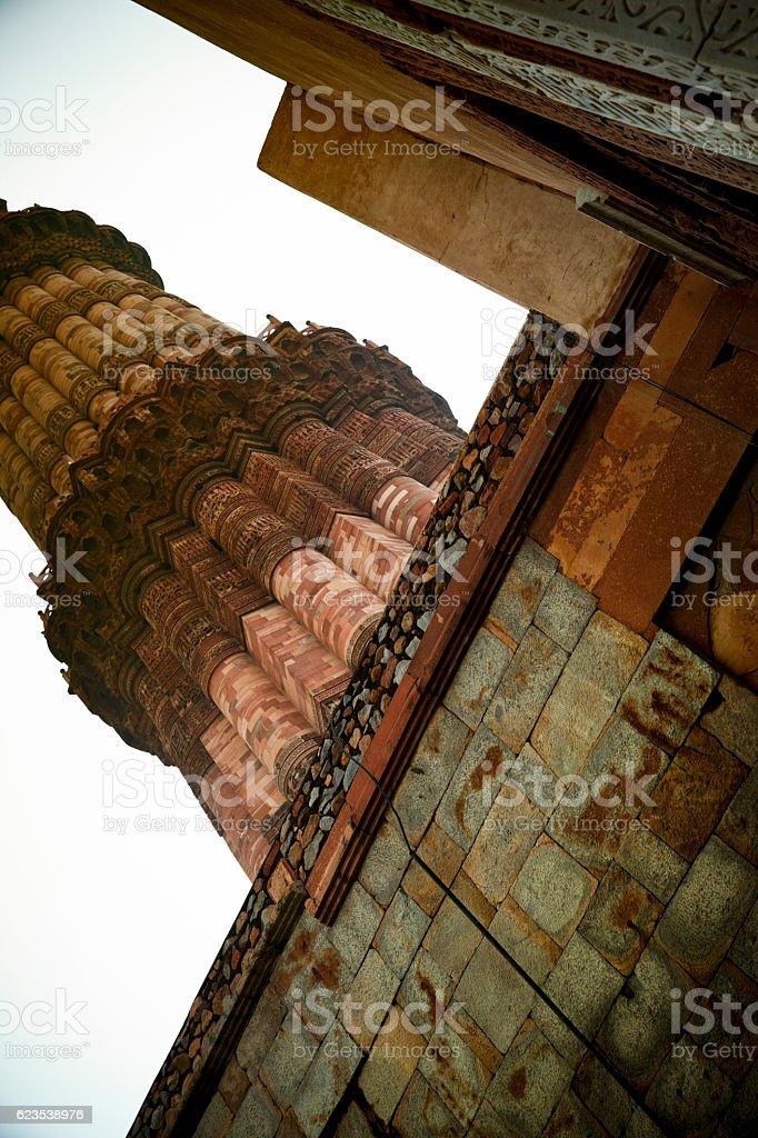 Minaret at Quwwat ul-Islam Mosque in Qutab Complex, India stock photo