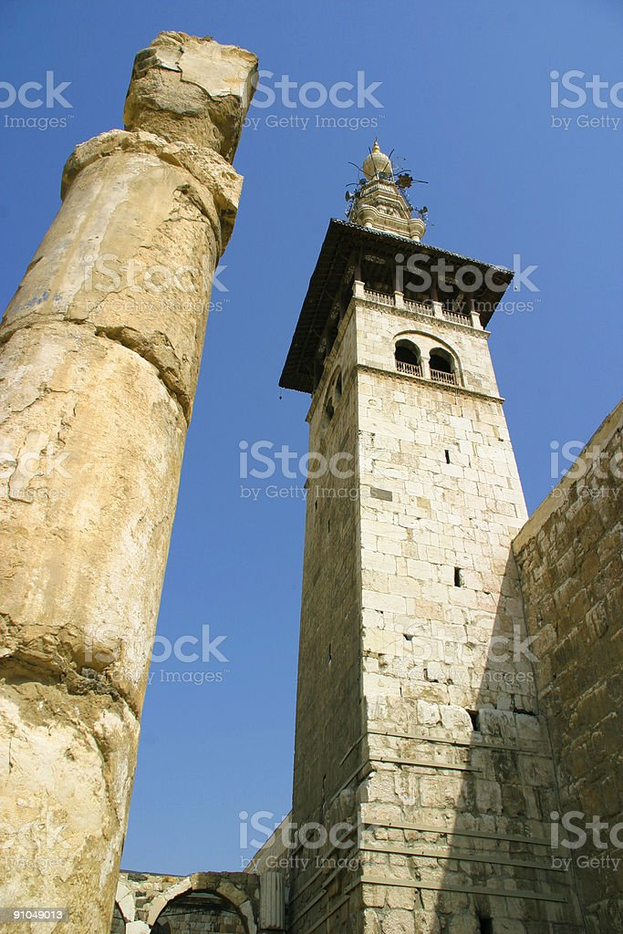 Minaret in Damascus stock photo