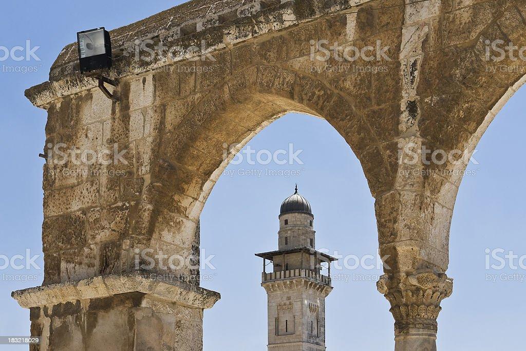 Minaret in Old City Jerusalem royalty-free stock photo