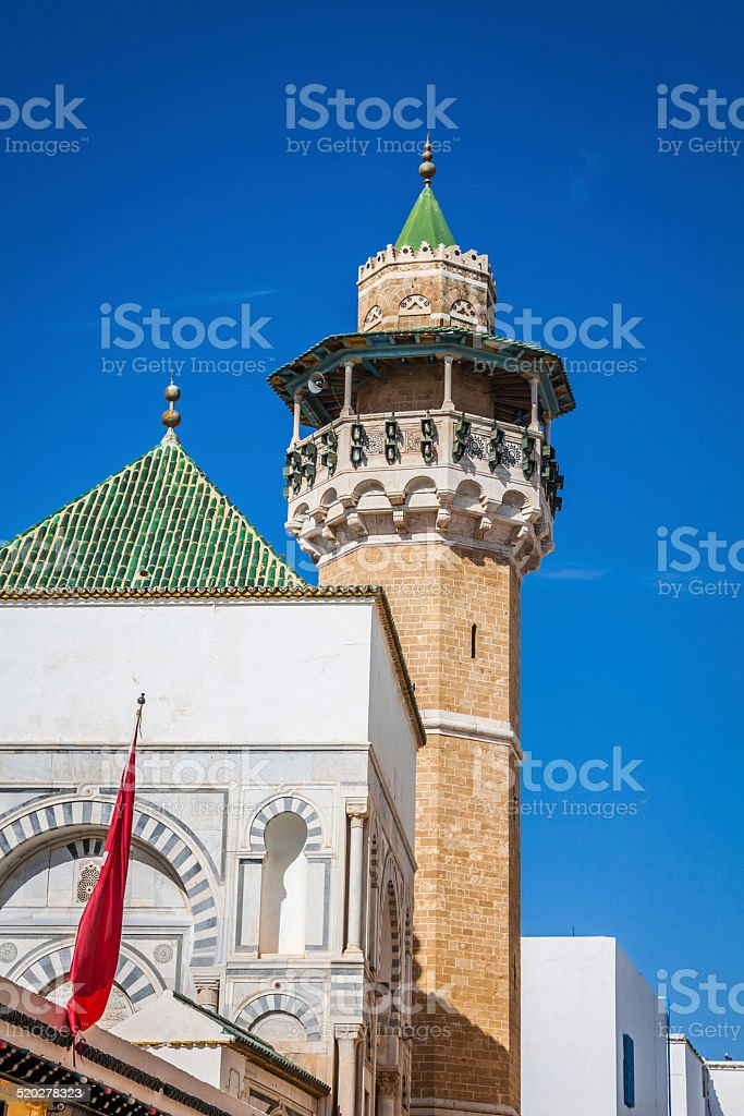 Minaret in Tunis medina stock photo