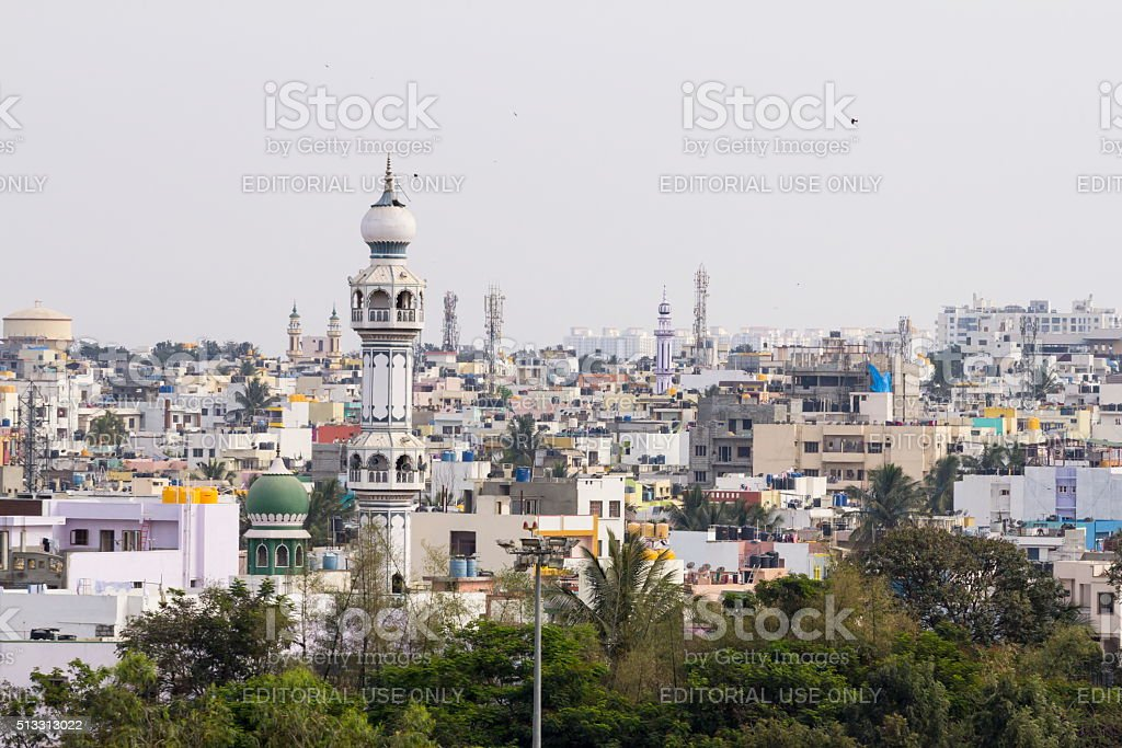 Minaret of mosque, Bangalore, India stock photo