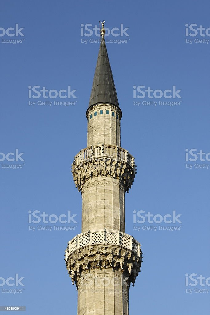 Minaret of Suleymanie Mosque stock photo