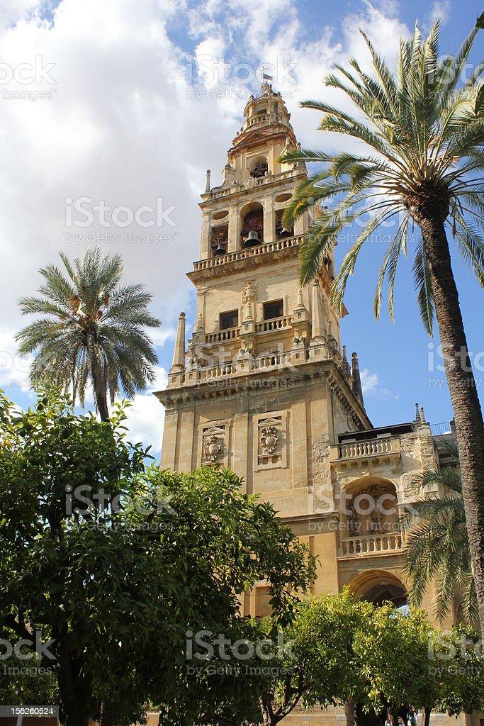 Minaret of the Mosque in Cordoba stock photo