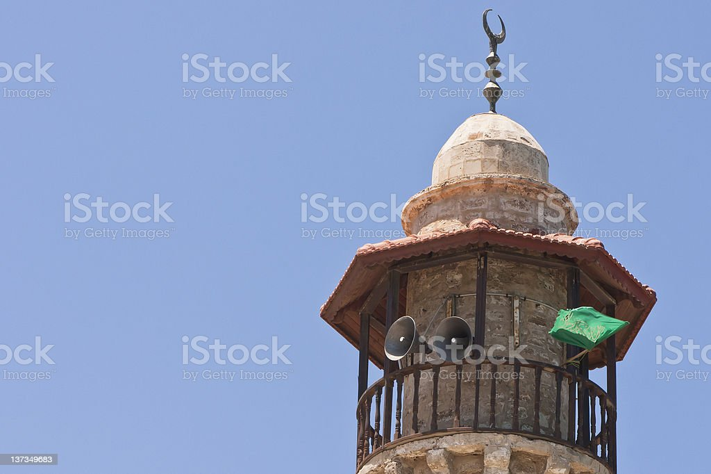 Minaret with Hamas' flag in Israel stock photo