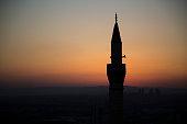 Minaret with sunset