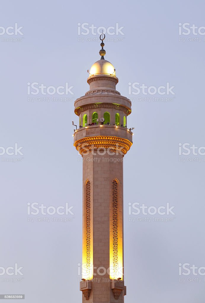 Minarets of Al Fateh Mosque of Bahrain in evening time stock photo